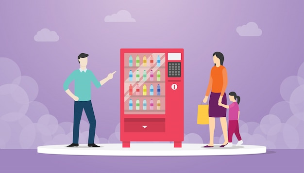 Vending machine with food drink bottle with man and woman people concept