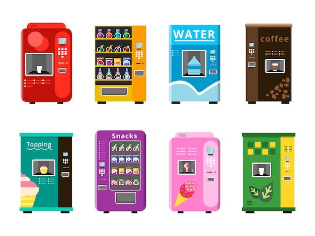Торговые автоматы. автоматическая продажа продуктов, закусок и напитков, кофе, мороженого и попкорна на плоских иллюстрациях.