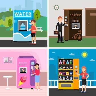 Торговые автоматы пищевые. люди, покупающие различные закуски, пьют кофейные крекеры и чипсы из автомата