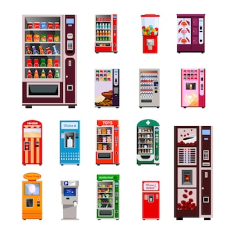 Vending machines icons set with toys water and coffee machines