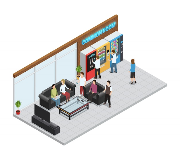 Vending  machines isometric composition with coffee and snacks machines