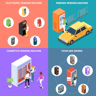 Vending machines with cosmetics food and drinks parking services isometric design concept isolated vector illustration