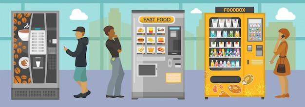 다른 음식과 음료 일러스트와 함께 자동 판매기. 실내 자동 판매기에서 다양한 스낵 음료 커피 크래커 쿠키 햄버거를 선택하는 사람들.