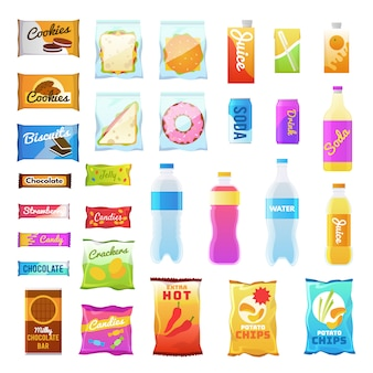 Vending products. beverages and snack plastic package, fast food snack packs, biscuit sandwich. drinks water juic