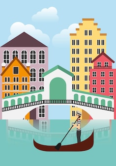Venecia city icon. italy culture design. vector graphic