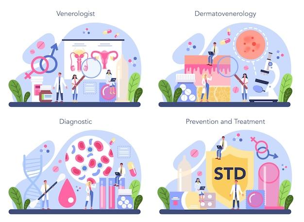 Venereologist 개념 집합입니다. 피부과 질환, 성병 및 감염의 전문 진단. 피부 병학.
