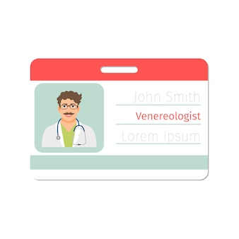 Venereologist medical specialist id card template