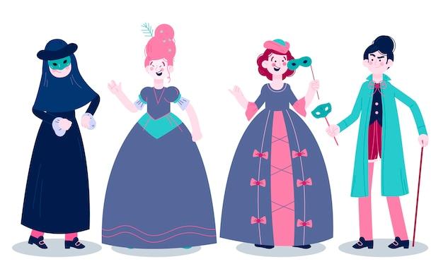 Venetian carnival character costumes