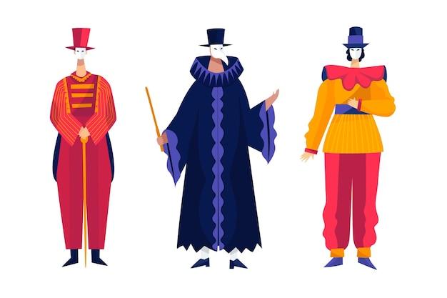 Персонажи венецианского карнавала, изолированные на белом фоне
