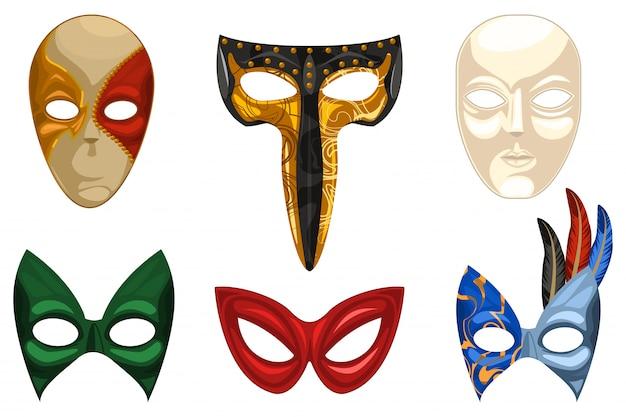 Venetian carnival mask set isolated white