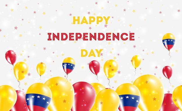 베네수엘라 볼리바리아 독립 기념일 애국 디자인 공화국. 베네수엘라 국가 색의 풍선. 행복 한 독립 기념일 벡터 인사말 카드입니다.