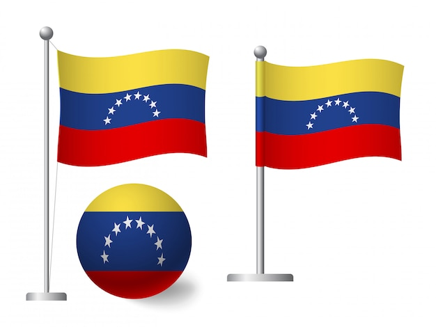 Флаг венесуэлы на значок полюса и мяча