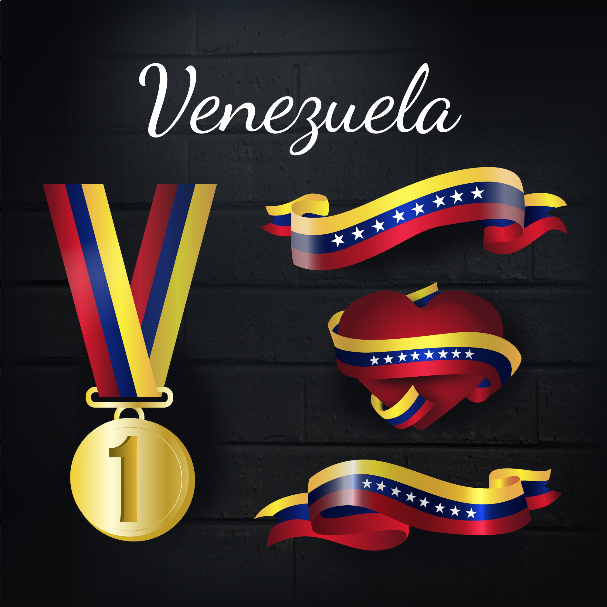 Venezuela gold medal and ribbons collection
