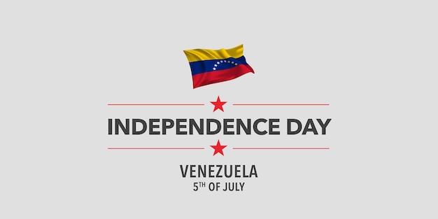 Venezuela happy independence day greeting card banner vector illustration