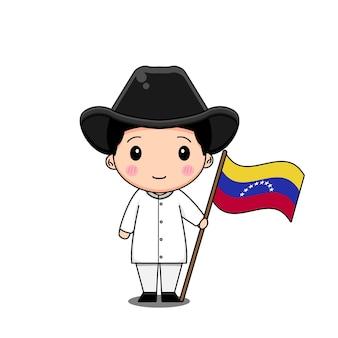 旗のある民族衣装のベネズエラ