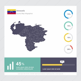 Venezuela map & flag infographics template