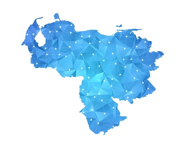 ベネズエラの地図の線の点は多角形の抽象的な幾何学的です。