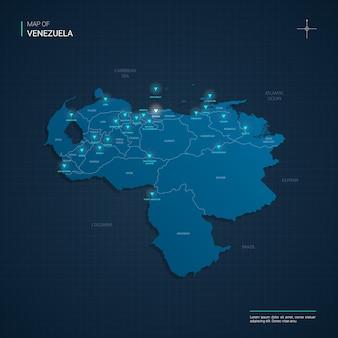 青いネオンの光点を持つベネズエラの地図-濃い青のグラデーションの三角形