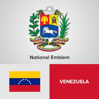 Venezuela national emblem and flag