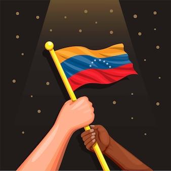 漫画の7月5日のコンセプトで独立記念日のお祝いのシンボルを手にベネズエラの国旗