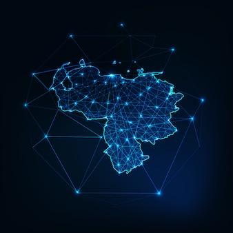 星と線の抽象的なフレームワークとベネズエラマップのアウトライン。通信、接続。