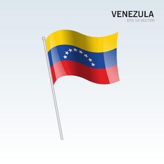 Venezula waving flag isolated on gray background