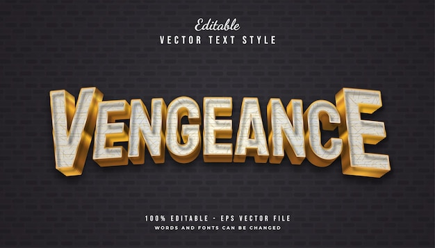 Vengeance text style in white and gold with textured and embossed effect