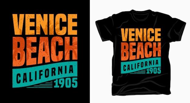 Венис-бич, калифорния, типография для дизайна футболки