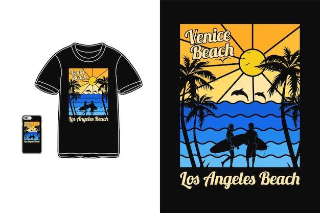 Пляж венеции, дизайн футболки силуэт в стиле ретро