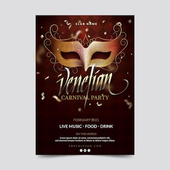 Venice carnival mask and confetti party poster