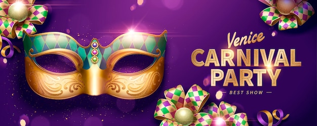 Venice carnival party banner design with decorative mask and rhombus ribbons on purple background in 3d illustration