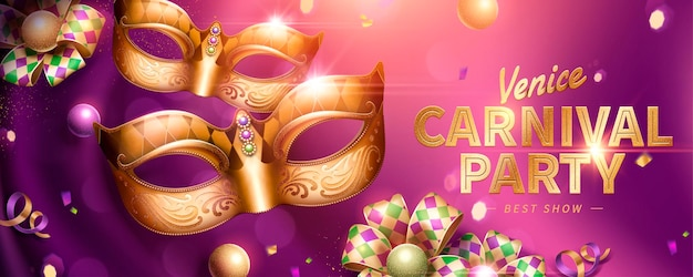 Venice carnival party banner design with decorative mask and rhombus ribbons on purple curtain background in 3d illustration