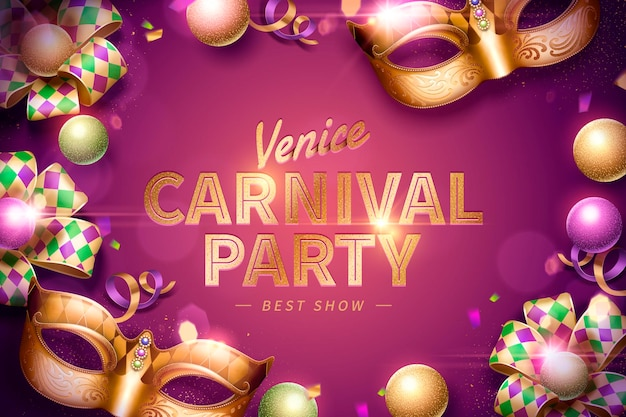 Venice carnival party design with decorative mask and rhombus ribbons on purple background in 3d illustration