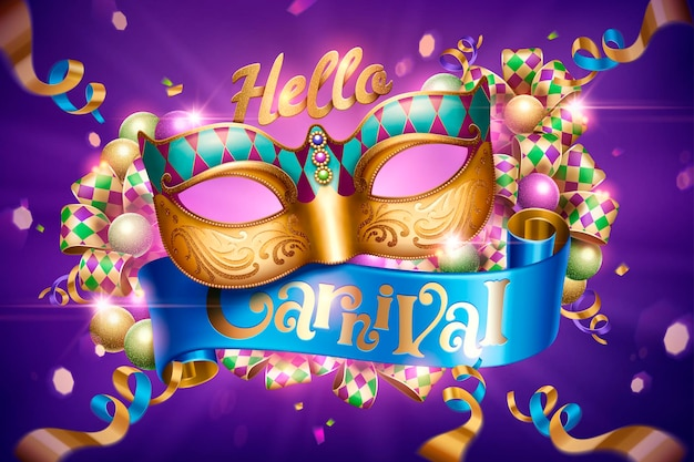 Venice carnival party design with decorative mask and streamers on purple background in 3d illustration