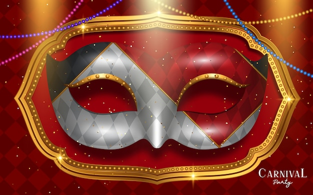 Venice carnival party design with mask in 3d illustration