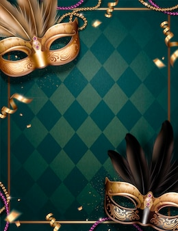 Venice carnival party with beautiful masks on rhombus green background in 3d illustration