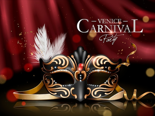 Venice carnival poster with black ornate mask
