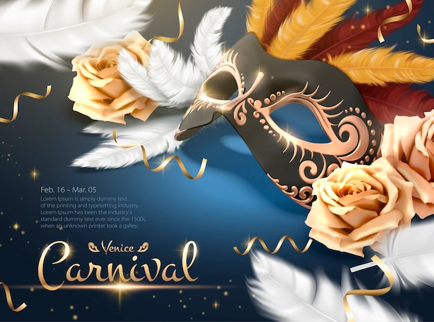 Venice carnival poster with golden mask and white feathers