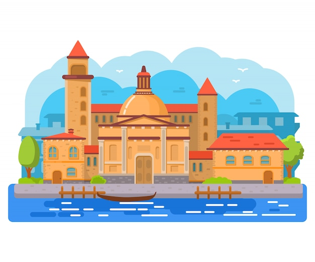 イタリアのヴェネツィアのゴンドラ。古代の建物と街並み。大聖堂と塔。