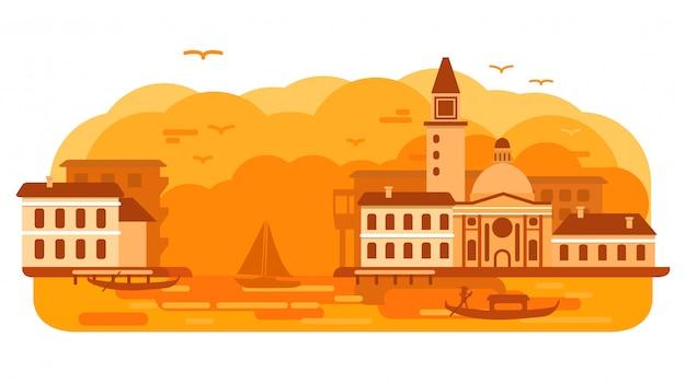 イタリアのヴェネツィアの都市ゴンドラ。海の景色の運河の夕日。ゴンドラに漕ぐオール。建築都市の景観。旅行観光。イタリアのスカイラインのヨーロッパのダウンタウン。