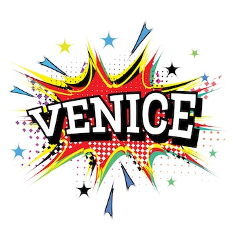 Venice comic text in pop art style isolated on white background. vector illustration. Premium Vector