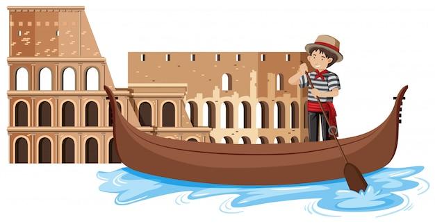 Venice gondola on white background