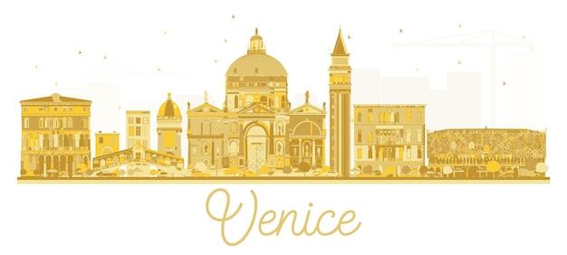 Золотой силуэт горизонта города венеция италия. векторная иллюстрация. концепция деловых поездок. городской пейзаж венеции с достопримечательностями.