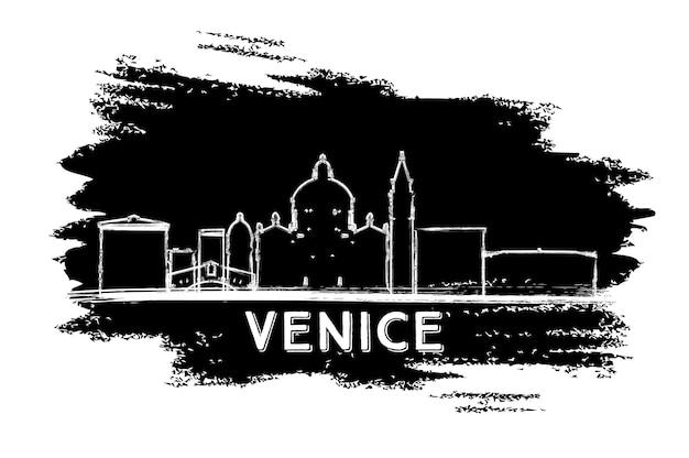 베니스 이탈리아 스카이 라인 실루엣입니다. 손으로 그린 스케치. 벡터 일러스트 레이 션. 현대 건축과 비즈니스 여행 및 관광 개념입니다. 프레젠테이션 배너 현수막 및 웹사이트용 이미지.