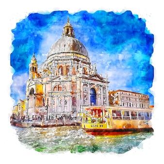Венеция италия акварельный эскиз рисованной иллюстрации