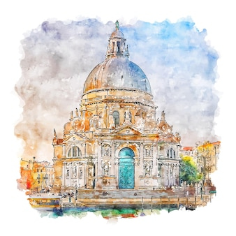 Venice italy watercolor sketch hand drawn illustration