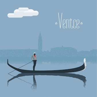 Venice skyscrape view with gondolier  illustration