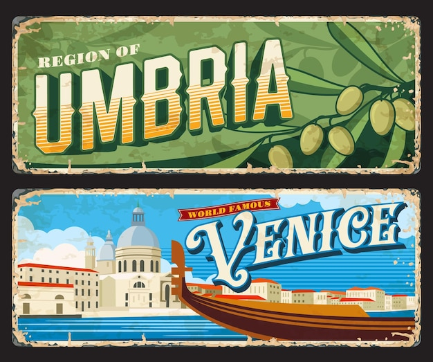 Venice and umbria italian provinces vintage plates and stickers, vector tin signs. italy cities entry sings or car number plates with travel landmark symbols and tourism sightseeing