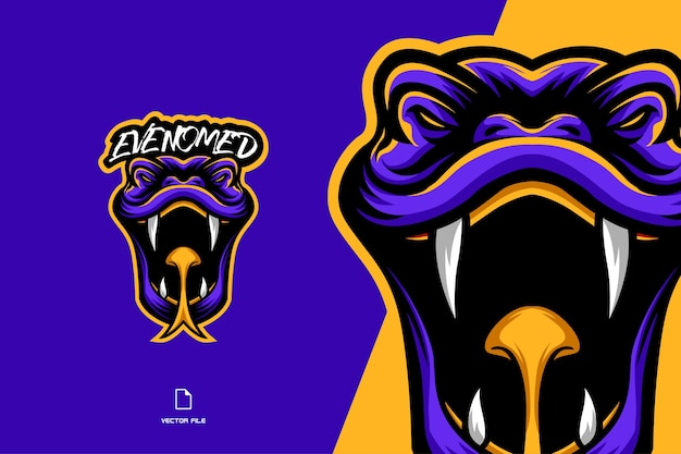 Venomous snake head mascot character cartoon logo illustration