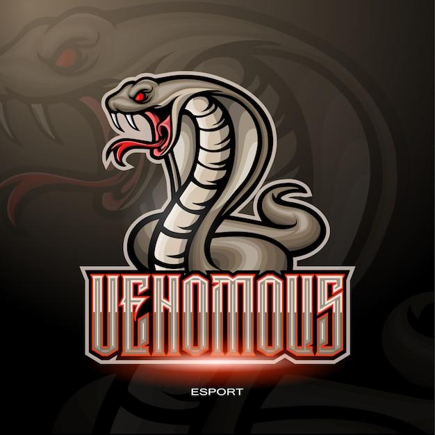 Venomous snake mascot for gaming logo.